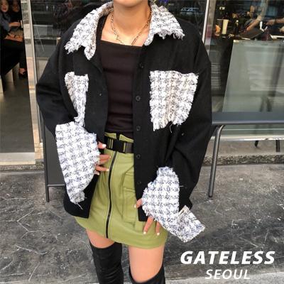 【GATELESS】ツイードウールポケットシャツ (2color)
