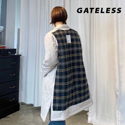 【GATELESS】バックパッチチェックキルティングロングコート (2color)