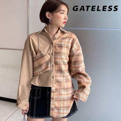 【GATELESS】チェックチェーンハーフウールベストシャツ (2color)