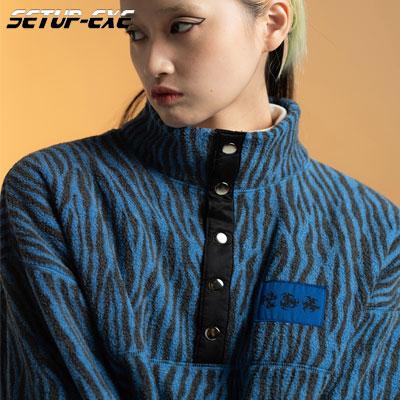 【SETUP-EXE】Zebra fleece Anorak - blue