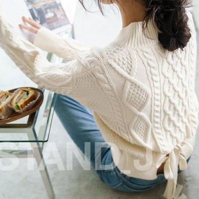 [STAND_J] 後ろリボンポイントケーブルショートセーター (4color)