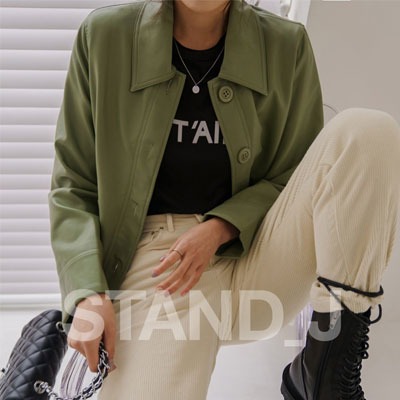 [STAND_J] レザーショートジャケット (3color)