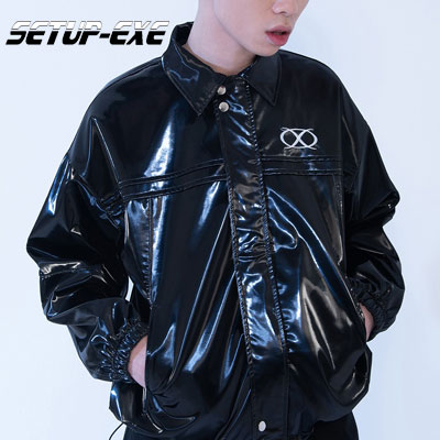 【SETUP-EXE】Pin tuck zip-up Jacket - black