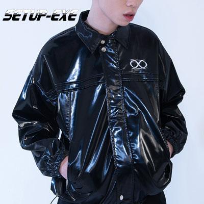 【SETUP-EXE】Pin tuck zip-up Jacket - black