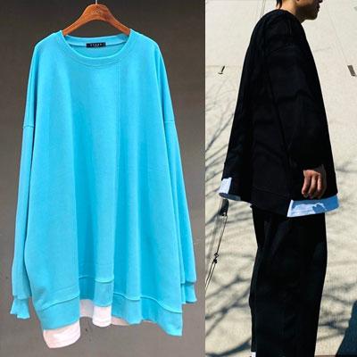 [UNISEX] アンバランスレイヤードスウェットシャツ (2color)