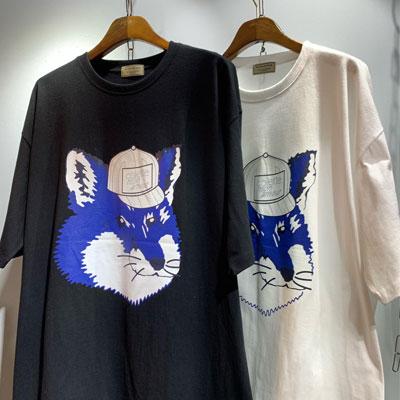 [UNISEX] キャップフォックスフェイスTシャツ/半袖 (2color)
