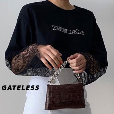 【GATELESS】レーススリーブtシャツ/半袖 (2color)