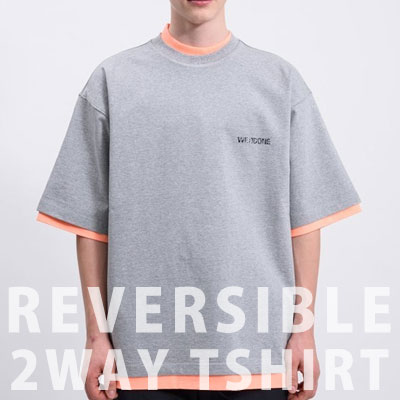 [UNISEX] リバーシブルスクエアプリント2ウェイTシャツ/半袖