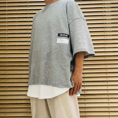 [UNISEX] ラウンドレイヤードTシャツ/半袖 (2color)