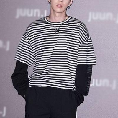 [UNISEX] GRAY st. ストライプレイヤードロングスリーブtシャツ/半袖