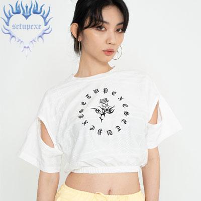 【SETUP-EXE】 Sleeve hole crop T - white