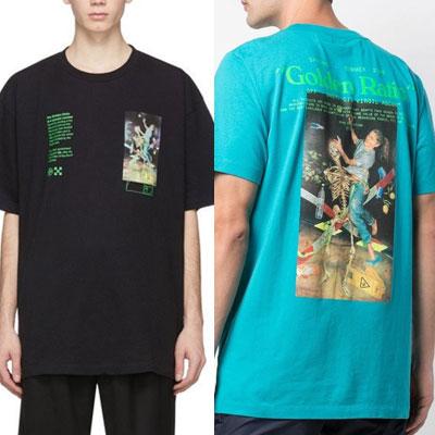 [UNISEX] スカルファイトグリーンロゴTシャツ/半袖 (2color)