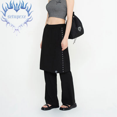 【SETUP-EXE】Skirt layered Pt - black