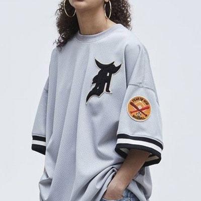 [UNISEX] ビッグパッチメッシュTシャツ/半袖 (2color)