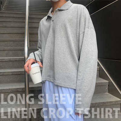[UNISEX] ロングスリーブリネンTシャツ/半袖 (2color)