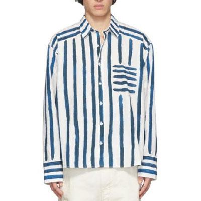 [UNISEX] ハンドブラシストライプロングシャツ