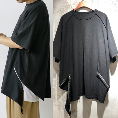 [UNISEX] ダブルジップアップTシャツ/半袖 (2color)