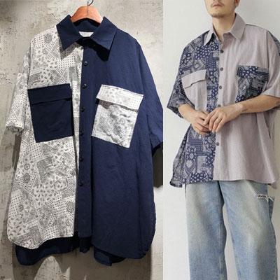 [UNISEX] アンバランスペイズリーシャツ (2color)