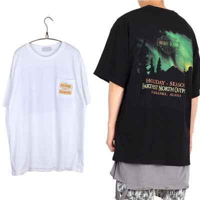 [UNISEX] ホリデイオーロラプリントTシャツ/半袖 (2color)