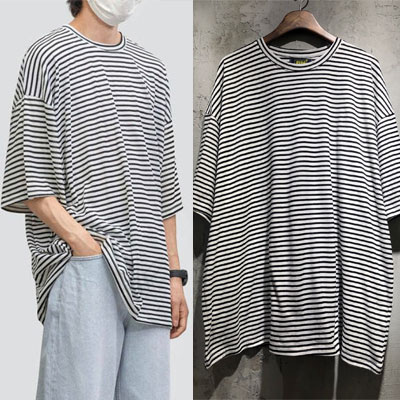 [UNISEX] オーバーフィットシンプルストライプTシャツ (3color)