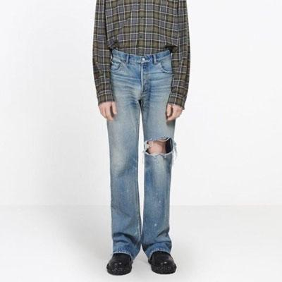 [UNISEX] 膝ホールジーンズ/デニム