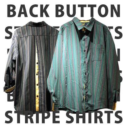 [UNISEX] 後ろボタンストライプシャツ (2color)