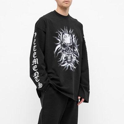 [UNISEX] インモータルフェイスレタリングスリーブTシャツ/長袖