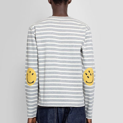 [UNISEX] スマイル肘ストライプグレーTシャツ/長袖