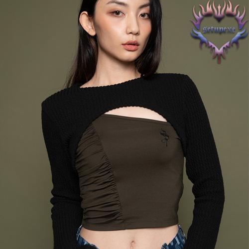【SETUP-EXE】Knit bolero T set - black