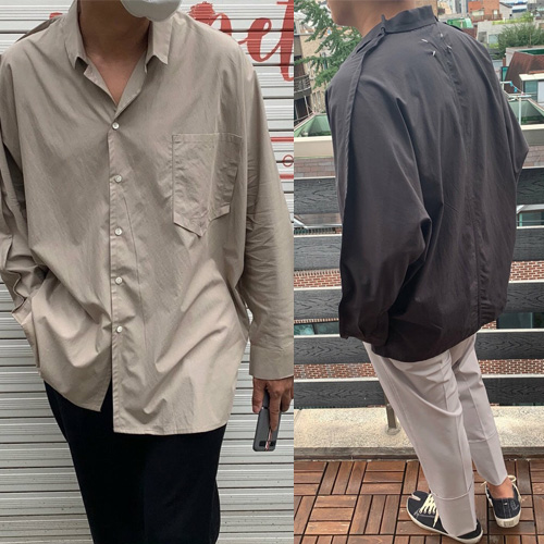 [UNISEX] ステッチワークオーバーサイズシャツ (2color)