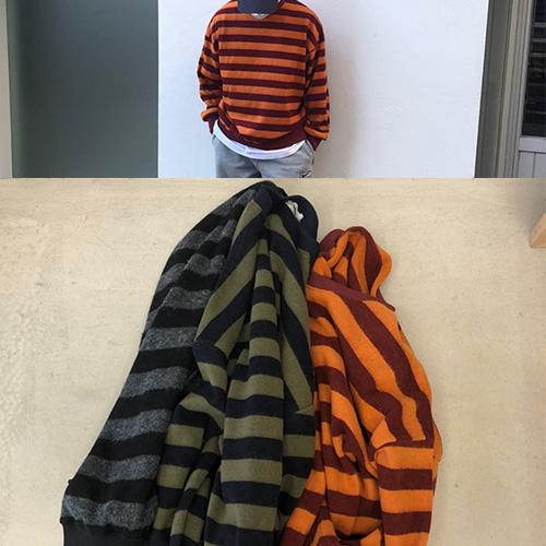 [UNISEX] ストライプニットスウェットシャツ (3color)