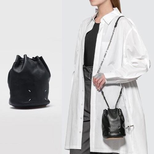 [UNISEX] 牛革ステッチミニバケットバッグ